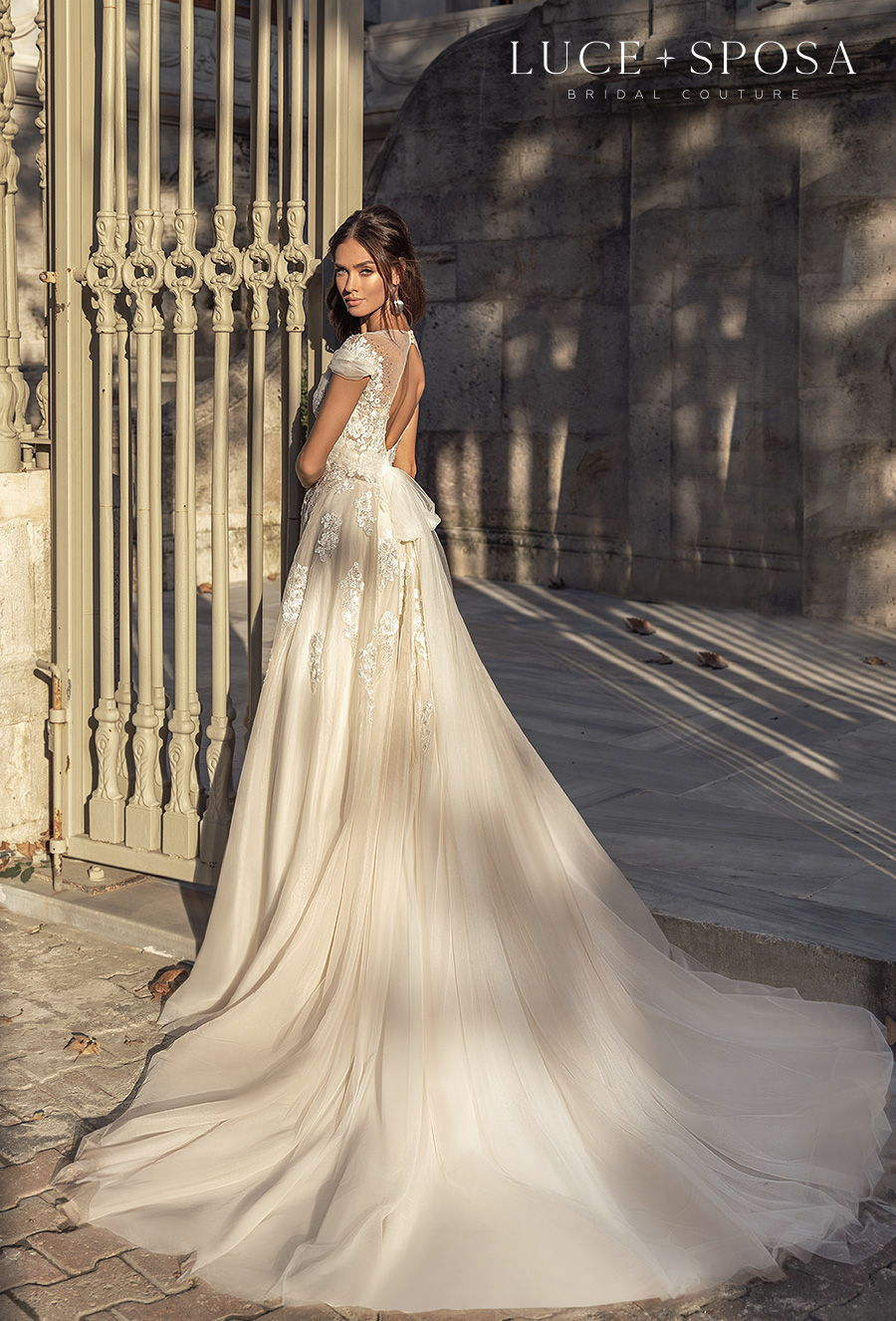 luce sposa s2021 istanbul bridal cap sleeves v neck heavily embellished bodice romantic a  line wedding dress keyhole back chapel train (raelyn) bv