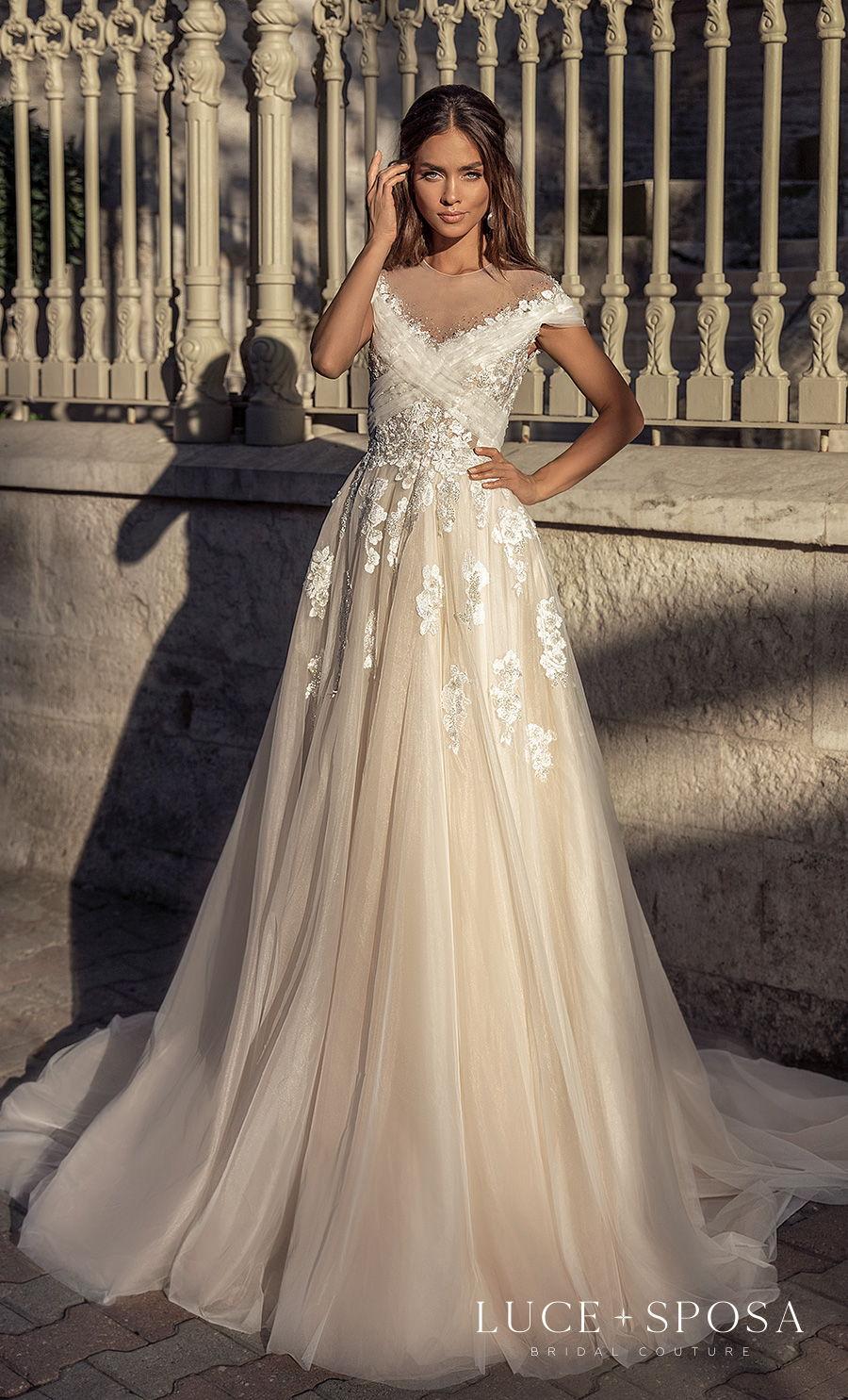 luce sposa s2021 istanbul bridal cap sleeves v neck heavily embellished bodice romantic a  line wedding dress keyhole back chapel train (raelyn) mv
