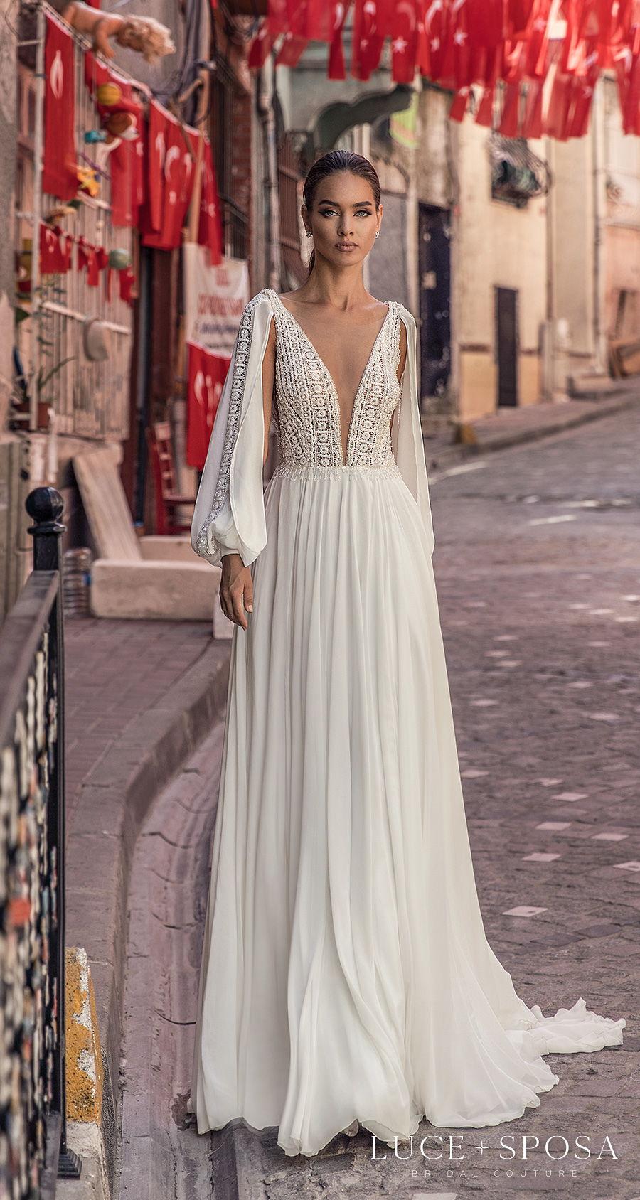 luce sposa s2021 istanbul bridal long bishop sleeves deep plunging v neck heavily embellished bodice romantic soft a  line wedding dress v back sweep train (nayeli) mv