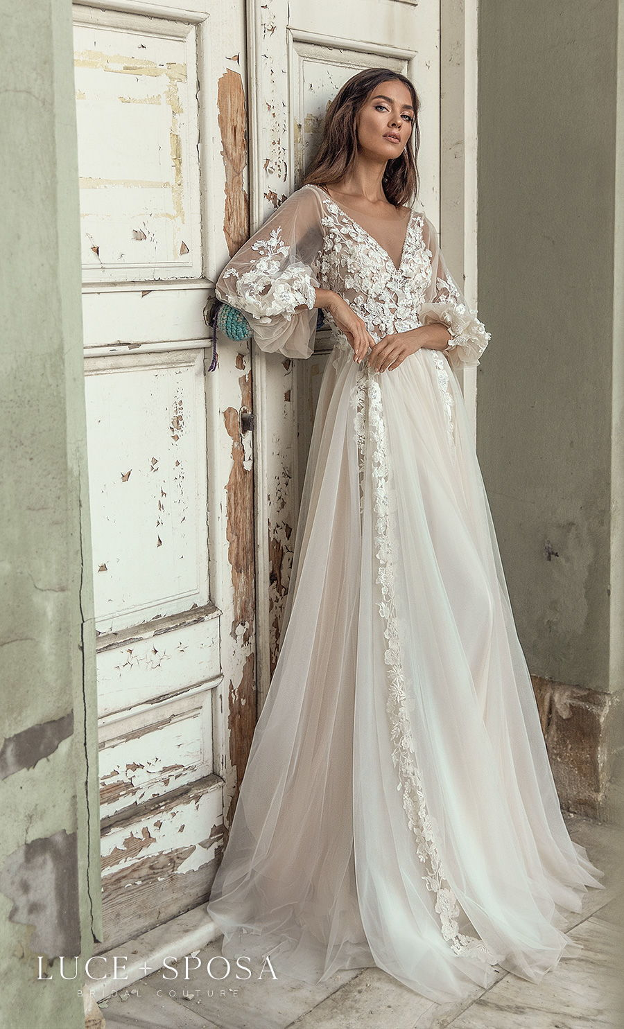 luce sposa s2021 istanbul bridal long bishop sleeves v neck heavily embellished bodice romantic soft a  line wedding dress v back sweep train (briella) mv
