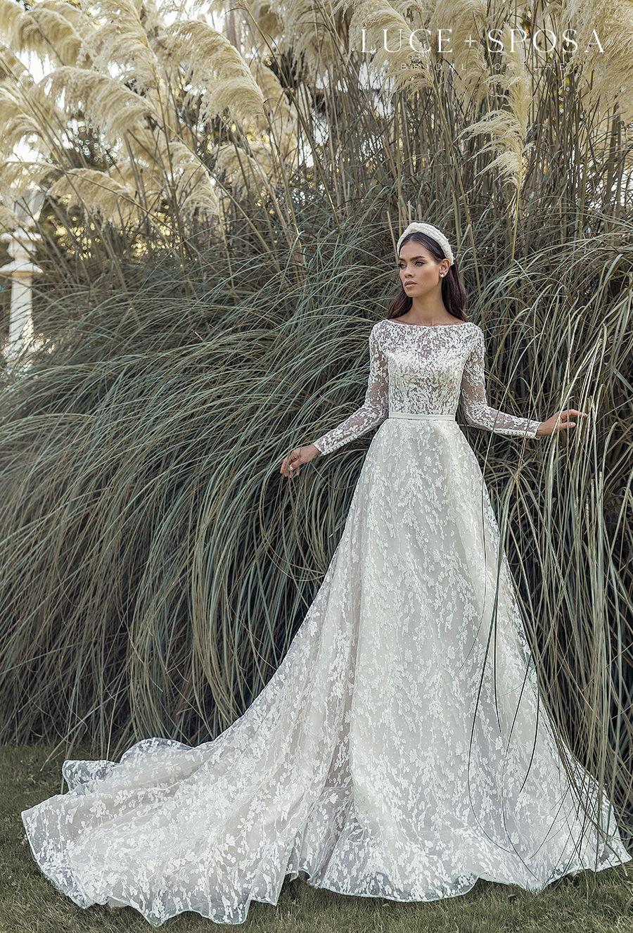 luce sposa s2021 istanbul bridal long sleeves bateau neckline full embellishment elegant a  line wedding dress covered lace back chapel train (addison) mv