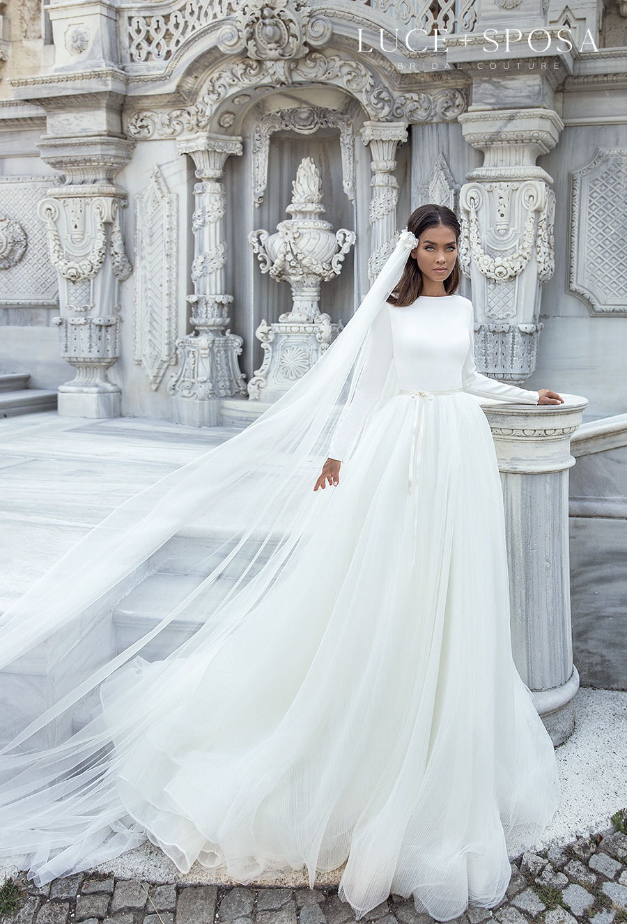 luce sposa s2021 istanbul bridal long sleeves bateau neckline simple minimalist elegant a  line wedding dress v back chapel train (haven) mv