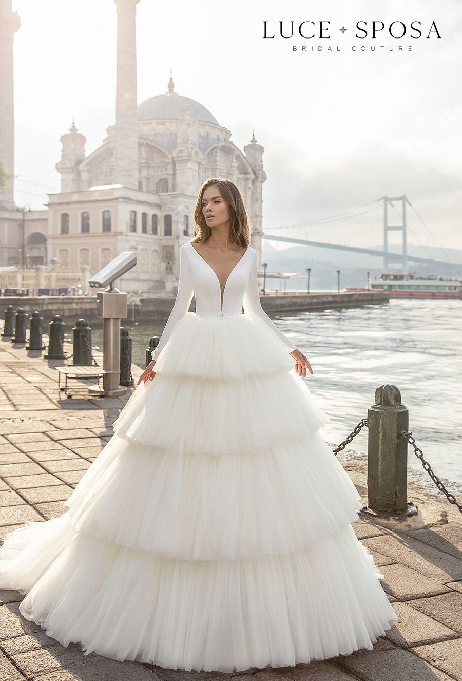 luce sposa s2021 istanbul bridal long sleeves deep plunging v neck simple clean bodice tiered skirt romantic ball gown a line wedding dress sheer button back chapel train (delilah) mv