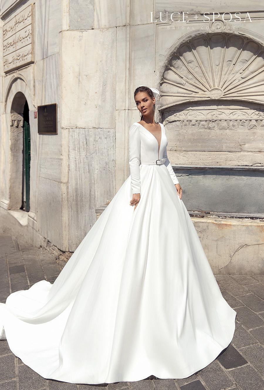luce sposa s2021 istanbul bridal long sleeves deep v neck simple minimalist elegant belt a  line wedding dress sheer button back chapel train (riley) mv