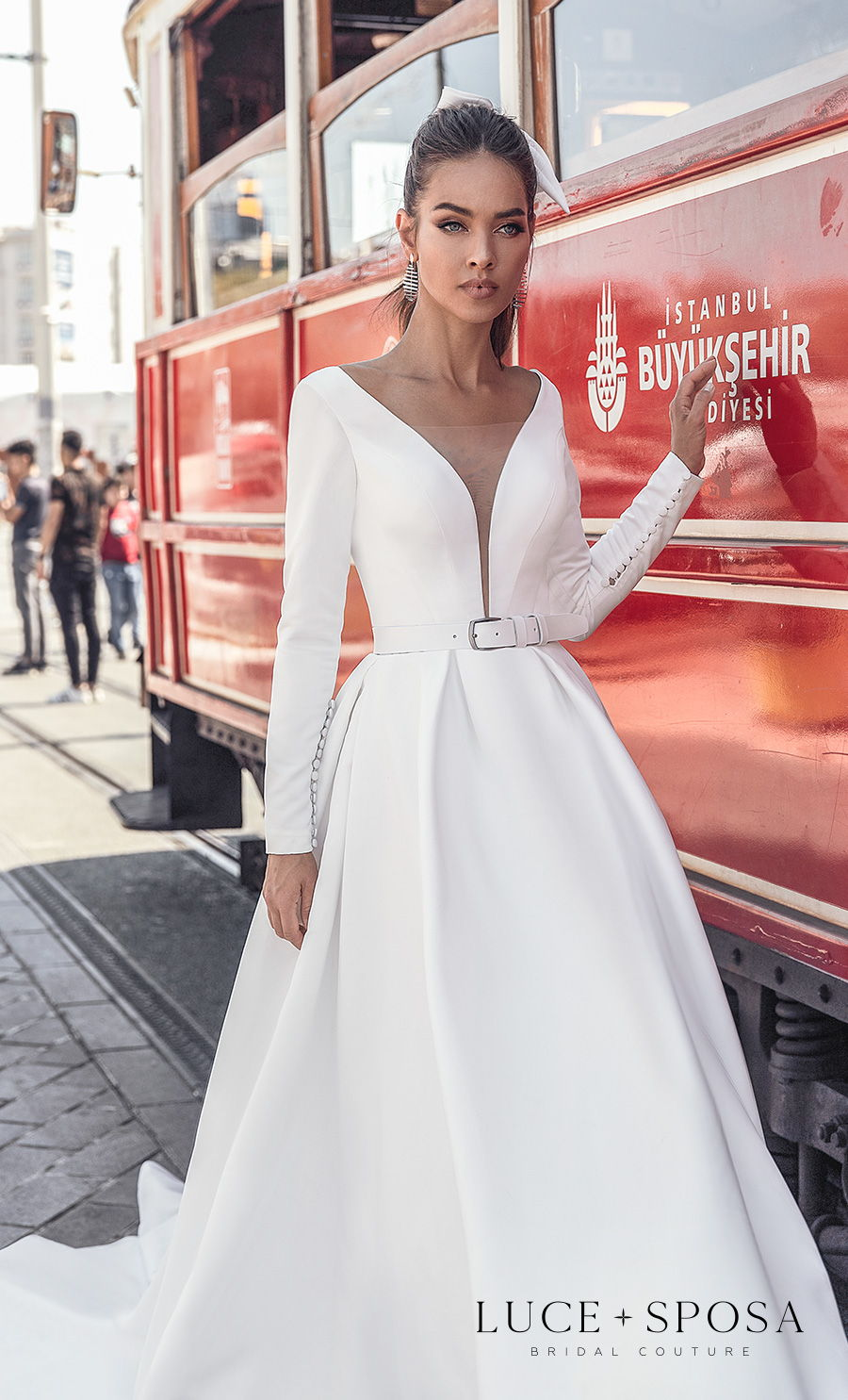 luce sposa s2021 istanbul bridal long sleeves deep v neck simple minimalist elegant belt a line wedding dress sheer button back chapel train (riley) zv