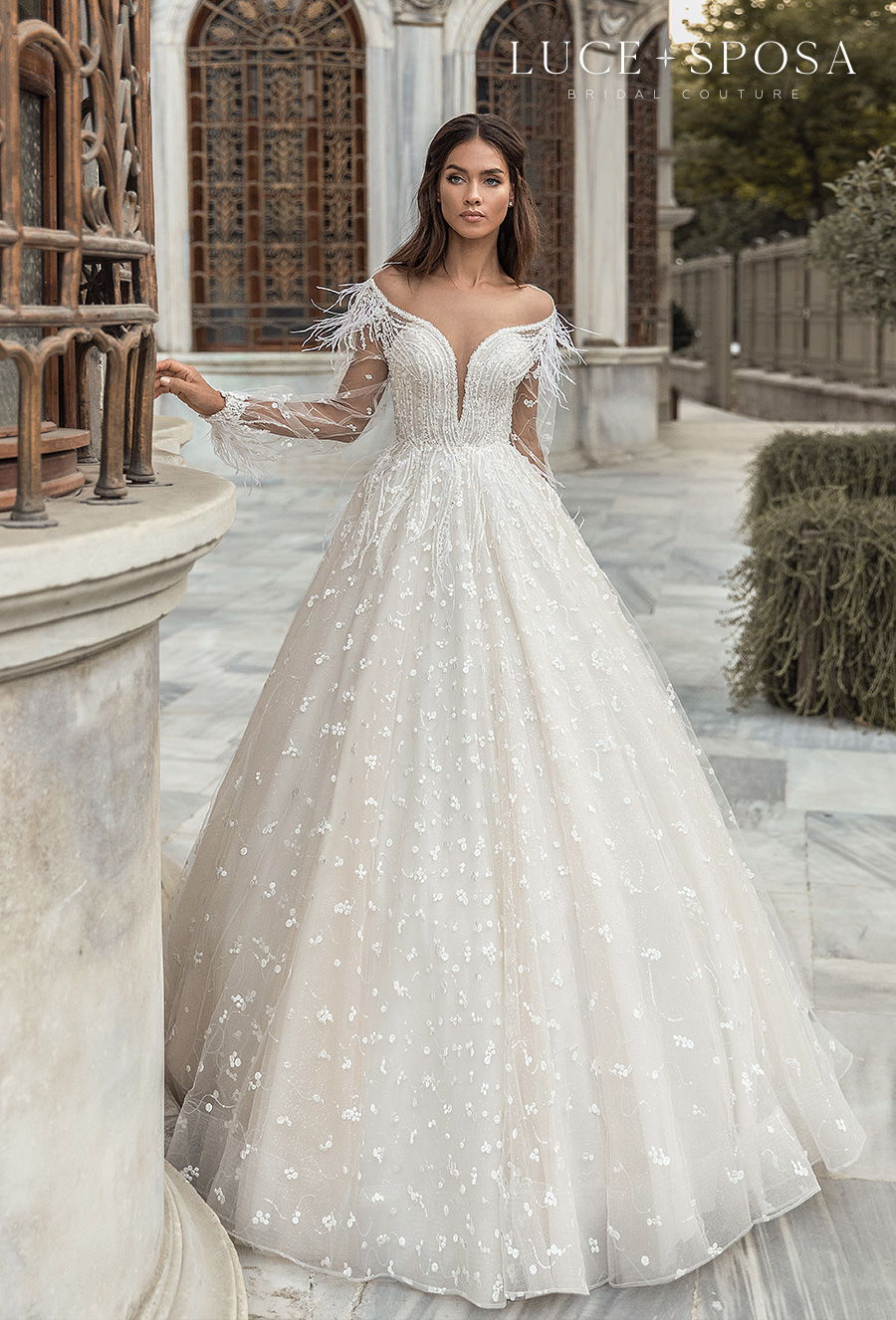 luce sposa s2021 istanbul bridal long sleeves off the shoulder sweetheart neckline full embellishment romantic a  line wedding dress keyhole back chapel train (aliyah) mv