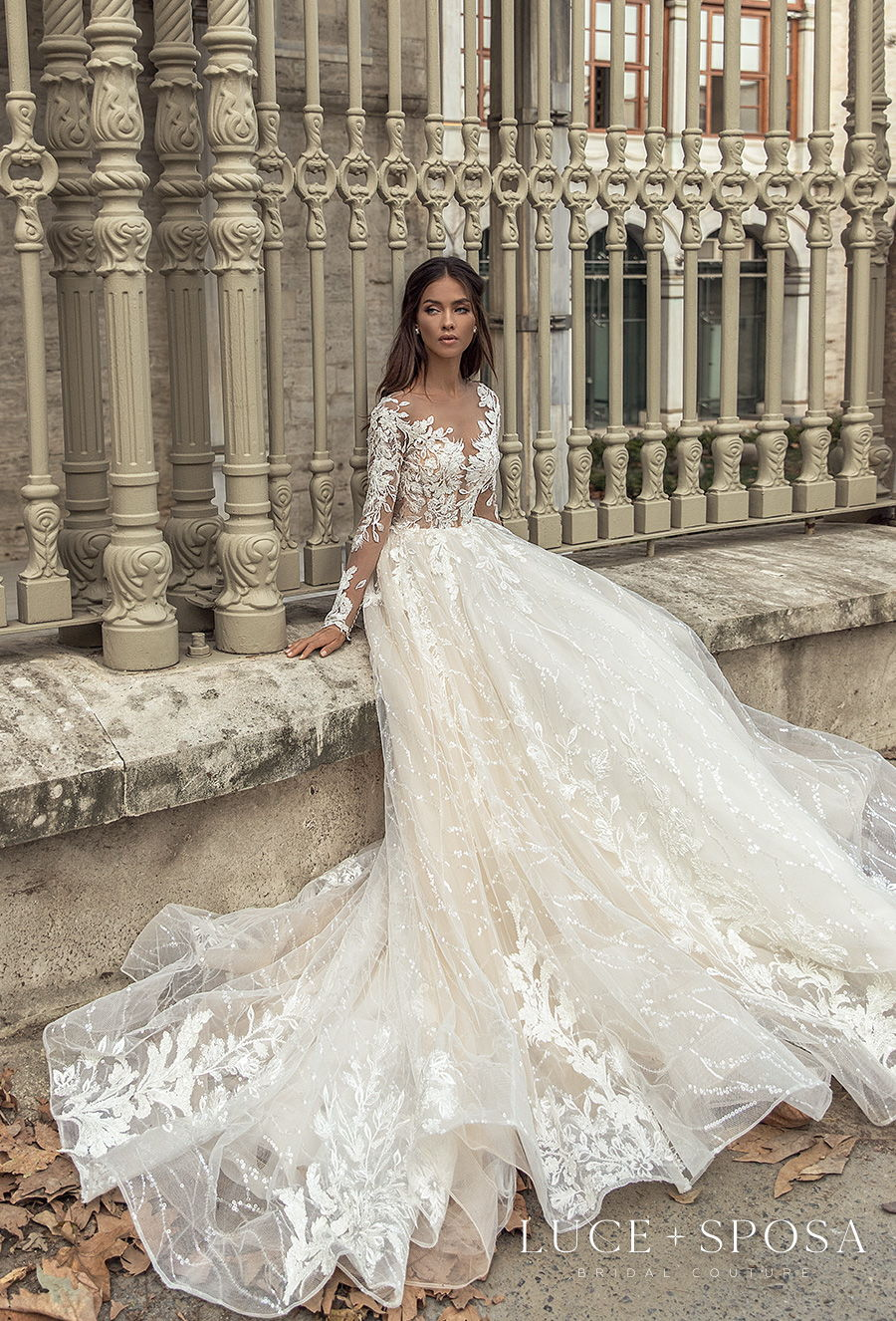 luce sposa s2021 istanbul bridal long sleeves v neck full embellishment romantic a  line wedding dress lace button back chapel train (evelyn) mv