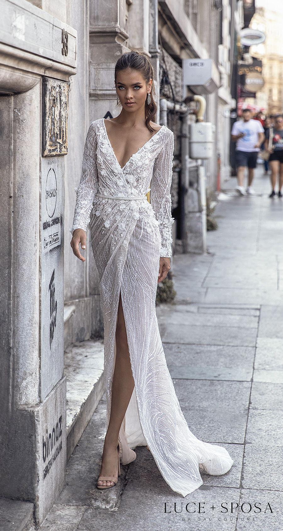 luce sposa s2021 istanbul bridal long sleeves v neck heavily embellished slit skirt sexy elegant sheath wedding dress covered back sweep train (sada) mv