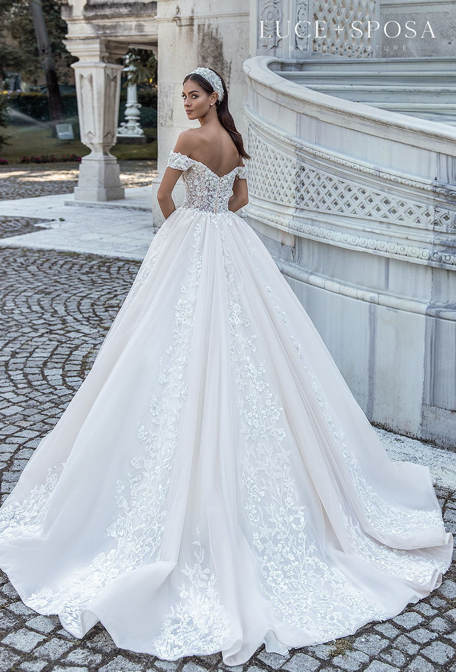 luce sposa s2021 istanbul bridal off the shoulder sweetheart neckline heavily embellished bodice princess ball gown a  line wedding dress mid back chapel train (lyra) bv