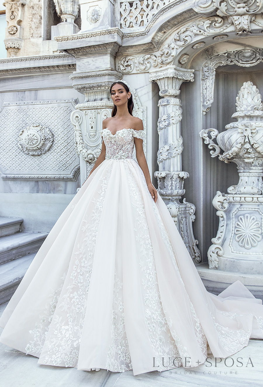 luce sposa s2021 istanbul bridal off the shoulder sweetheart neckline heavily embellished bodice princess ball gown a  line wedding dress mid back chapel train (lyra) mv