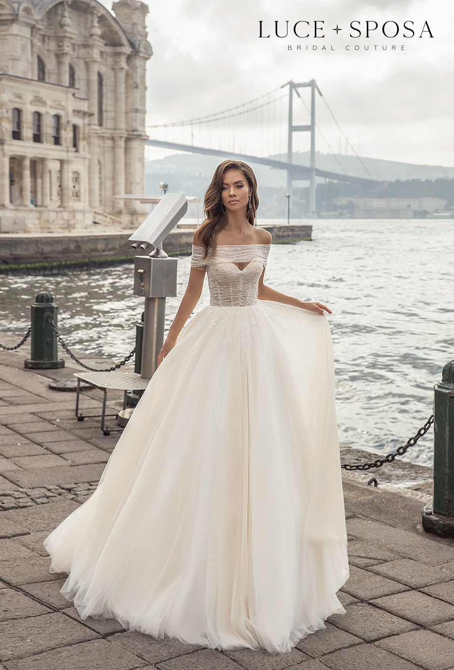 luce sposa s2021 istanbul bridal off the shoulder sweetheart neckline heavily embellished bodice romantic a  line wedding dress mid back medium train (everly) mv