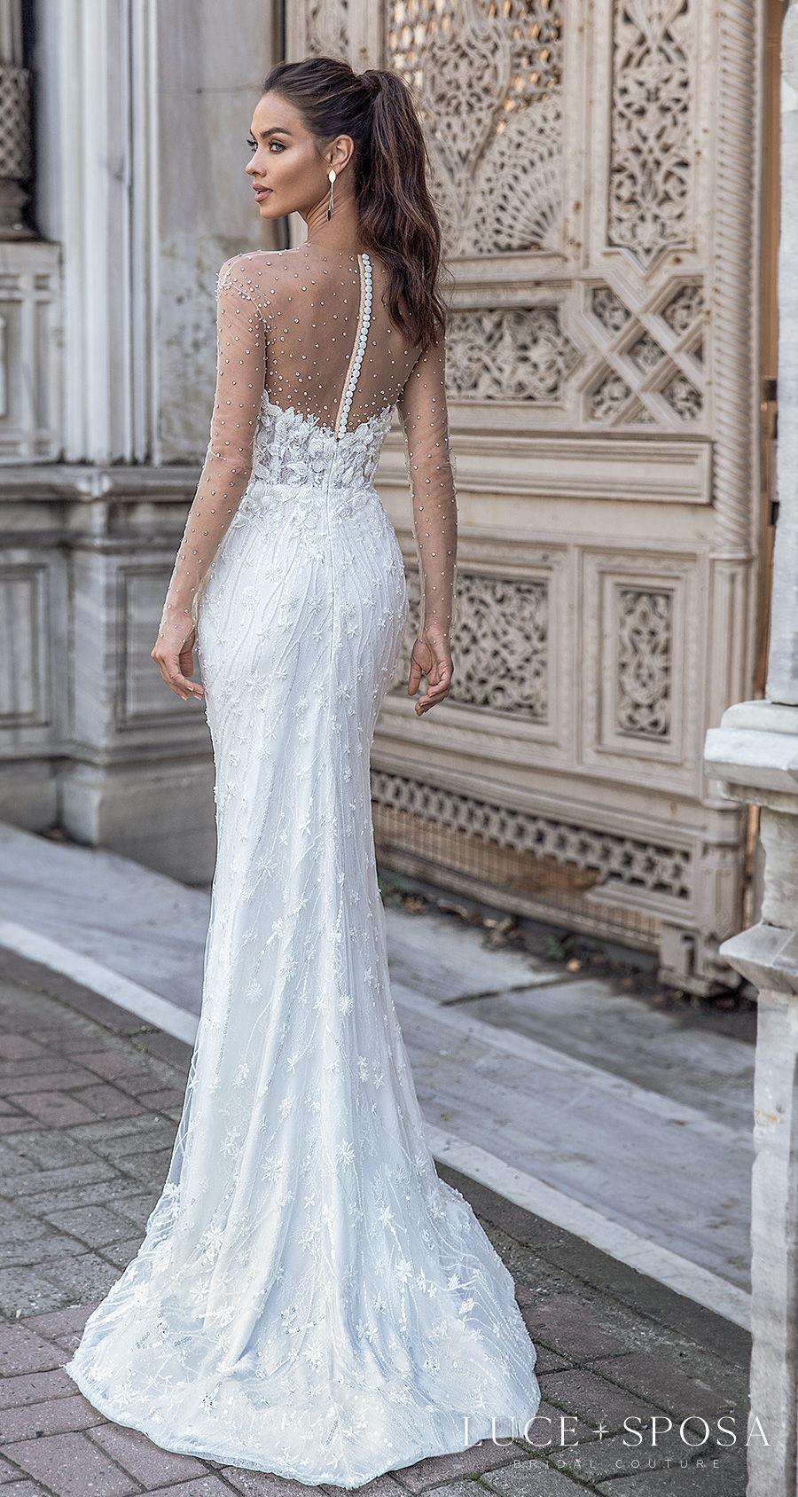 luce sposa s2021 istanbul bridal sheer long sleeves illusion jewel sweetheart neckline full embellishment elegant sheath wedding dress sheer button back sweep train (amara) bv