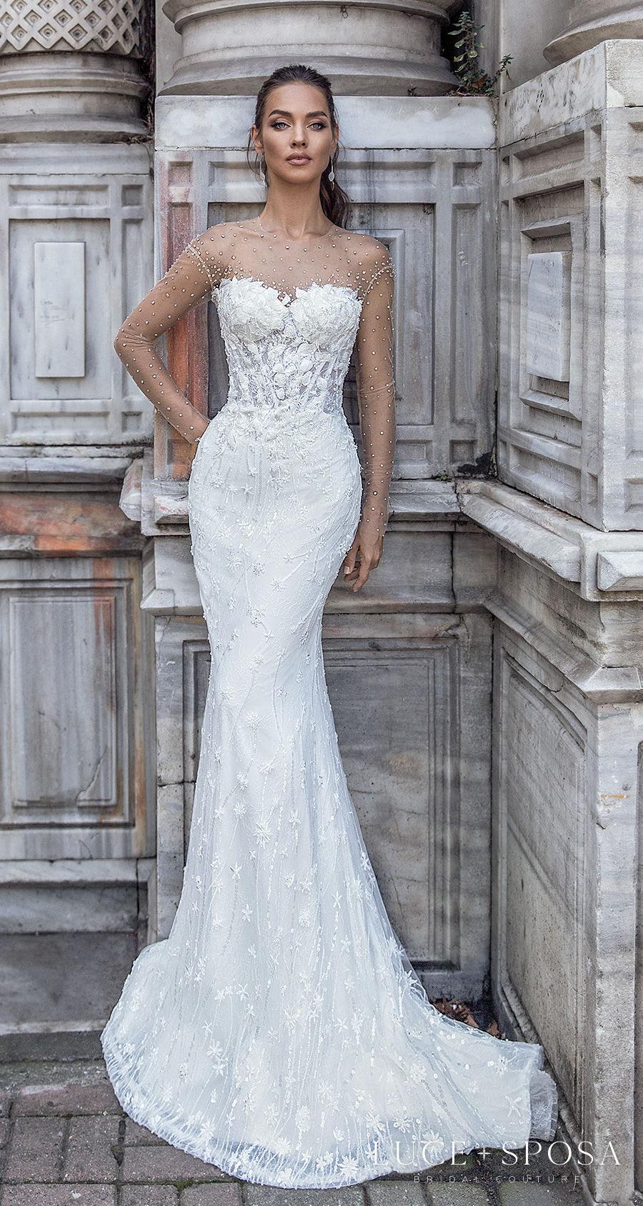 luce sposa s2021 istanbul bridal sheer long sleeves illusion jewel sweetheart neckline full embellishment elegant sheath wedding dress sheer button back sweep train (amara) mv