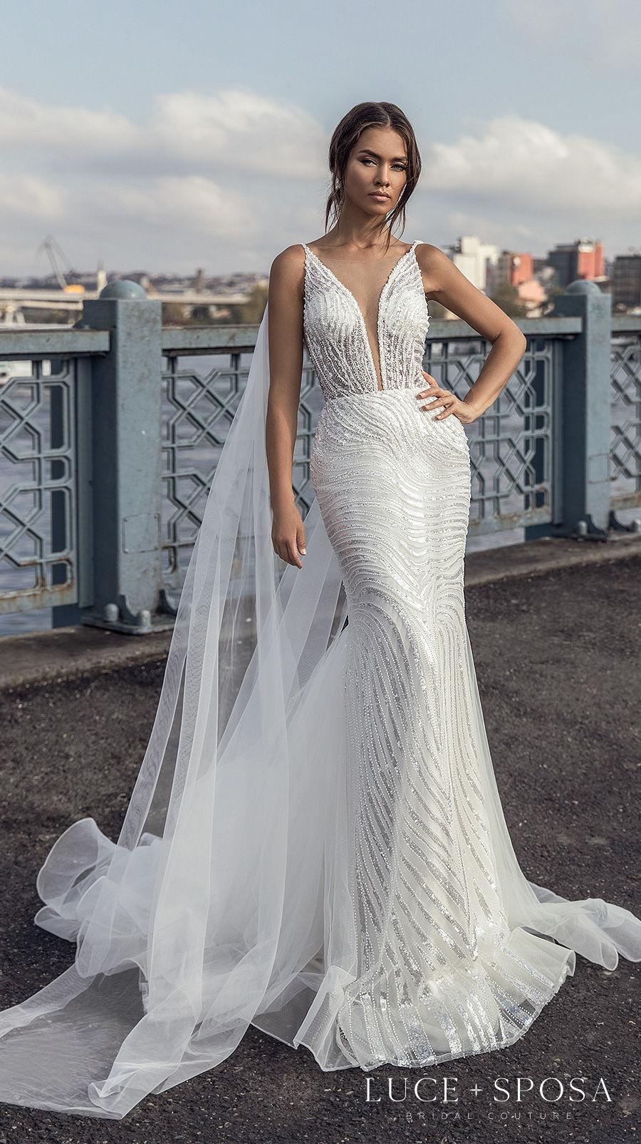 luce sposa s2021 istanbul bridal sleeveless deep plunging v neck full embellishment glamorous elegant fit and flare wedding dress v back short train (kholeesi) mv