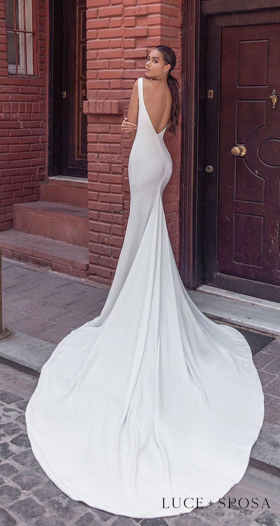 luce sposa s2021 istanbul bridal sleeveless deep v neck simple minimalist slit skirt elegant sheath wedding dress low v back chapel train (royalty) bv