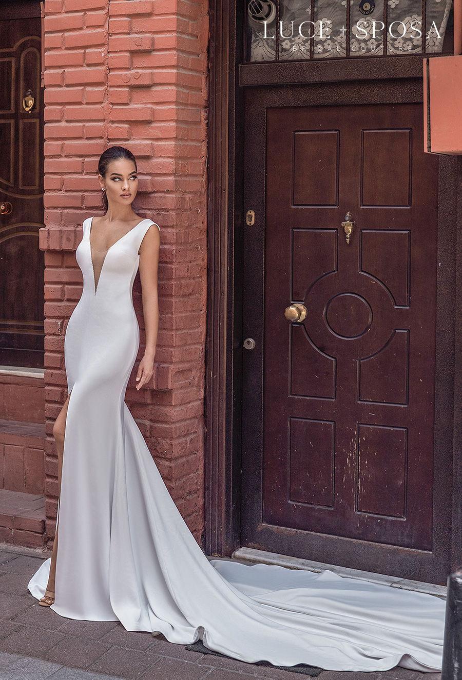 luce sposa s2021 istanbul bridal sleeveless deep v neck simple minimalist slit skirt elegant sheath wedding dress low v back chapel train (royalty) mv