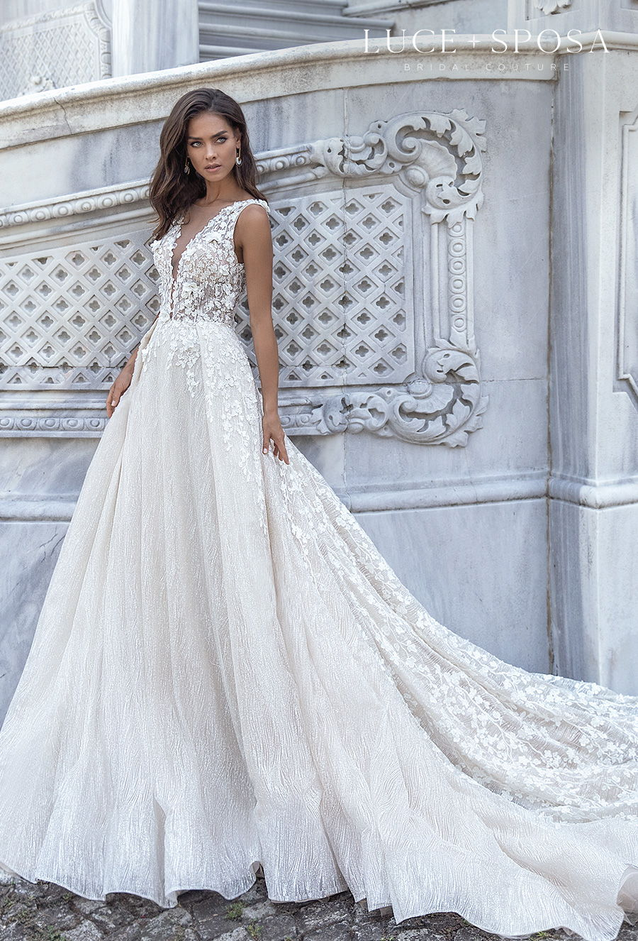 luce sposa s2021 istanbul bridal sleeveless depp v neck heavily embellished bodice romantic a  line wedding dress overskirt low v back chapel train (gianna) mv