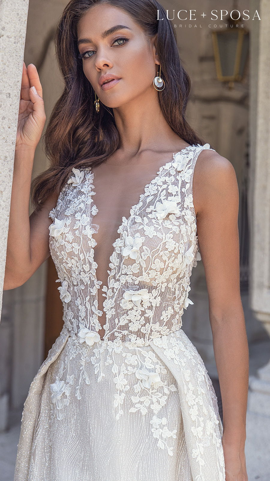 luce sposa s2021 istanbul bridal sleeveless depp v neck heavily embellished bodice romantic a  line wedding dress overskirt low v back chapel train (gianna) zv