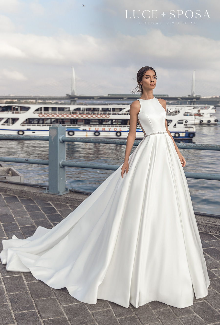 luce sposa s2021 istanbul bridal sleeveless halter neck simple minimalist elegant a  line wedding dress sheer lace button back chapel train (nalani) mv