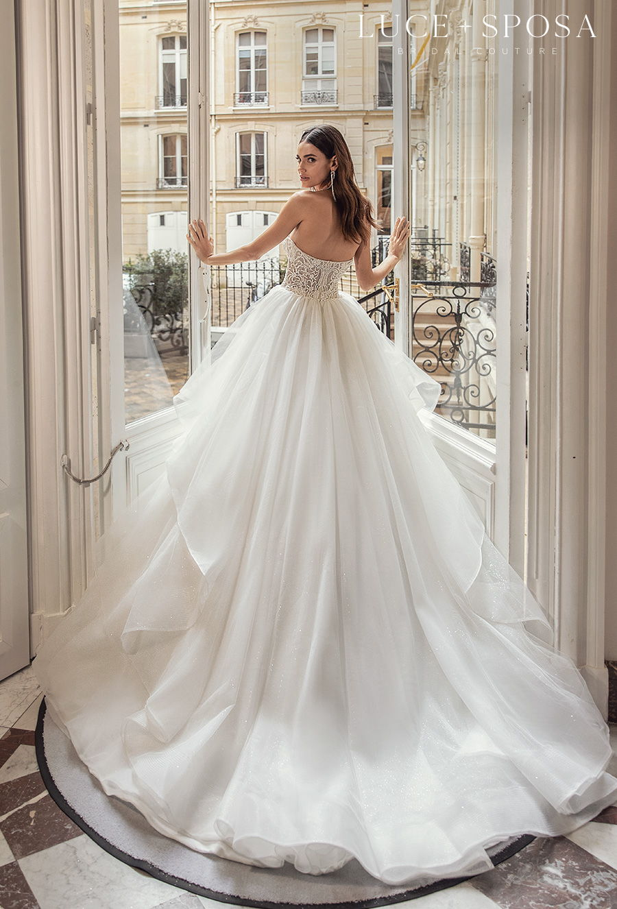 luce sposa s2021 off the shoulder sweetheart neckline heavily embellished bodice bustier romantic a  line wedding dress mid back chapel train (ambre) bv