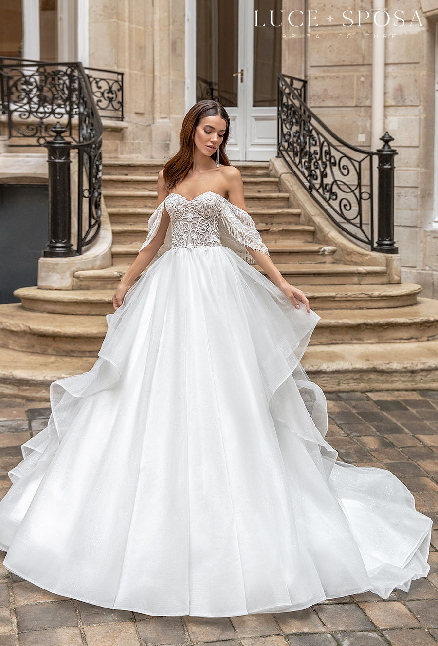 luce sposa s2021 off the shoulder sweetheart neckline heavily embellished bodice bustier romantic a  line wedding dress mid back chapel train (ambre) mv