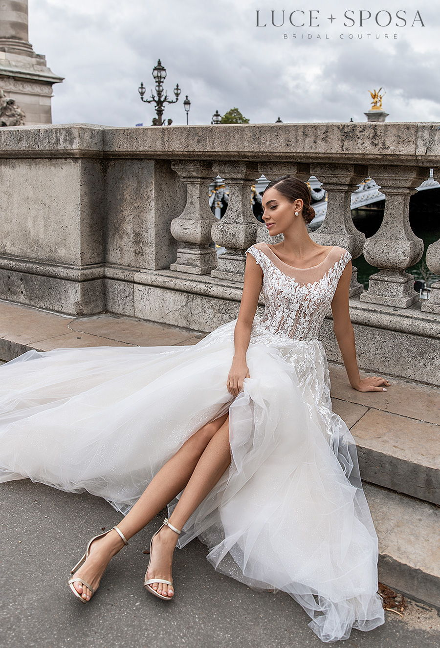 luce sposa s2021 paris bridal cap sleeves sheer boat neck heavily embellished bodice romantic a  line wedding dress v back chapel train (erin) mv