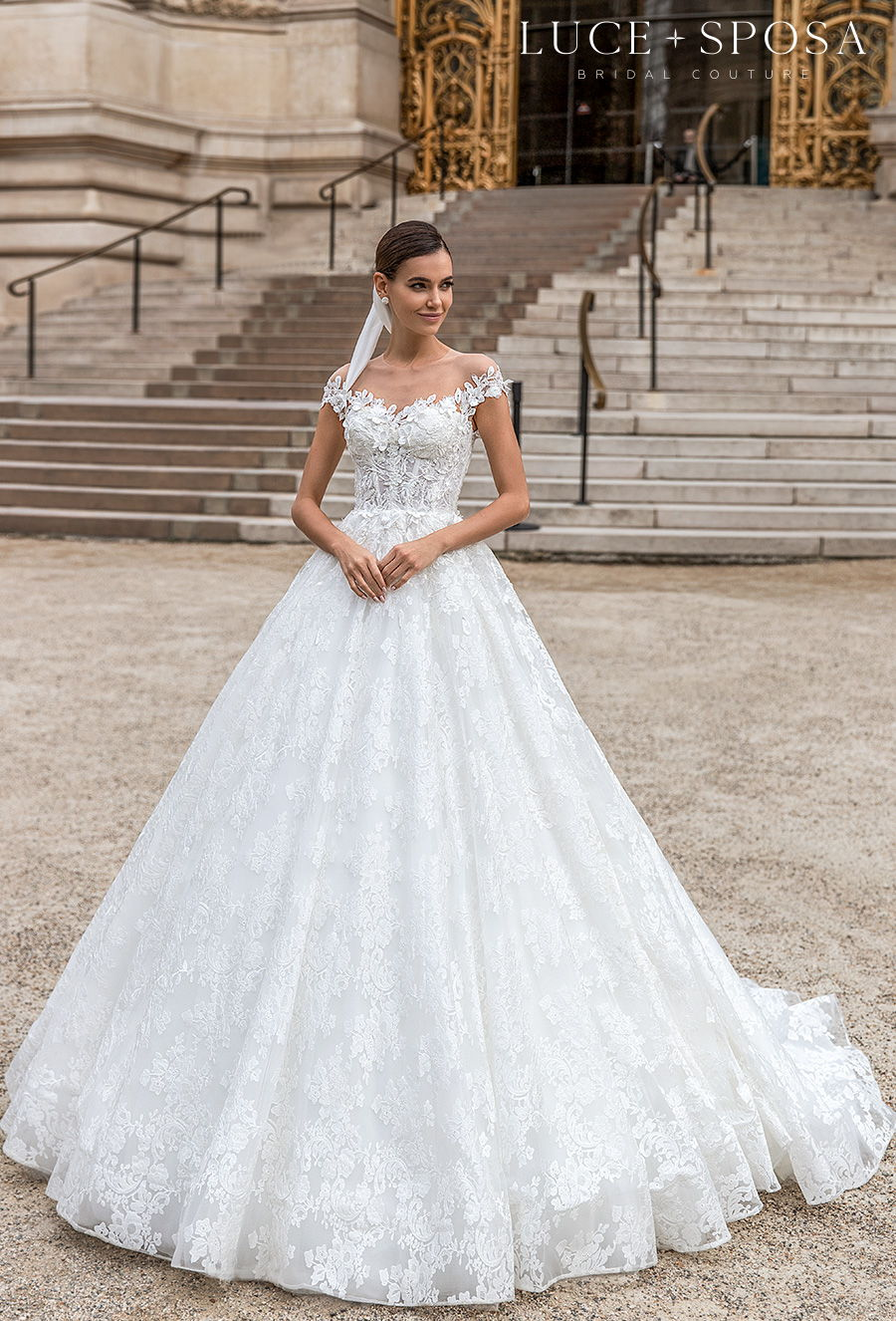 luce sposa s2021 paris bridal cap sleeves sweetheart neckline heavily embellished bodice romantic a  line wedding dress sheer button back chapel train (cindy) mv