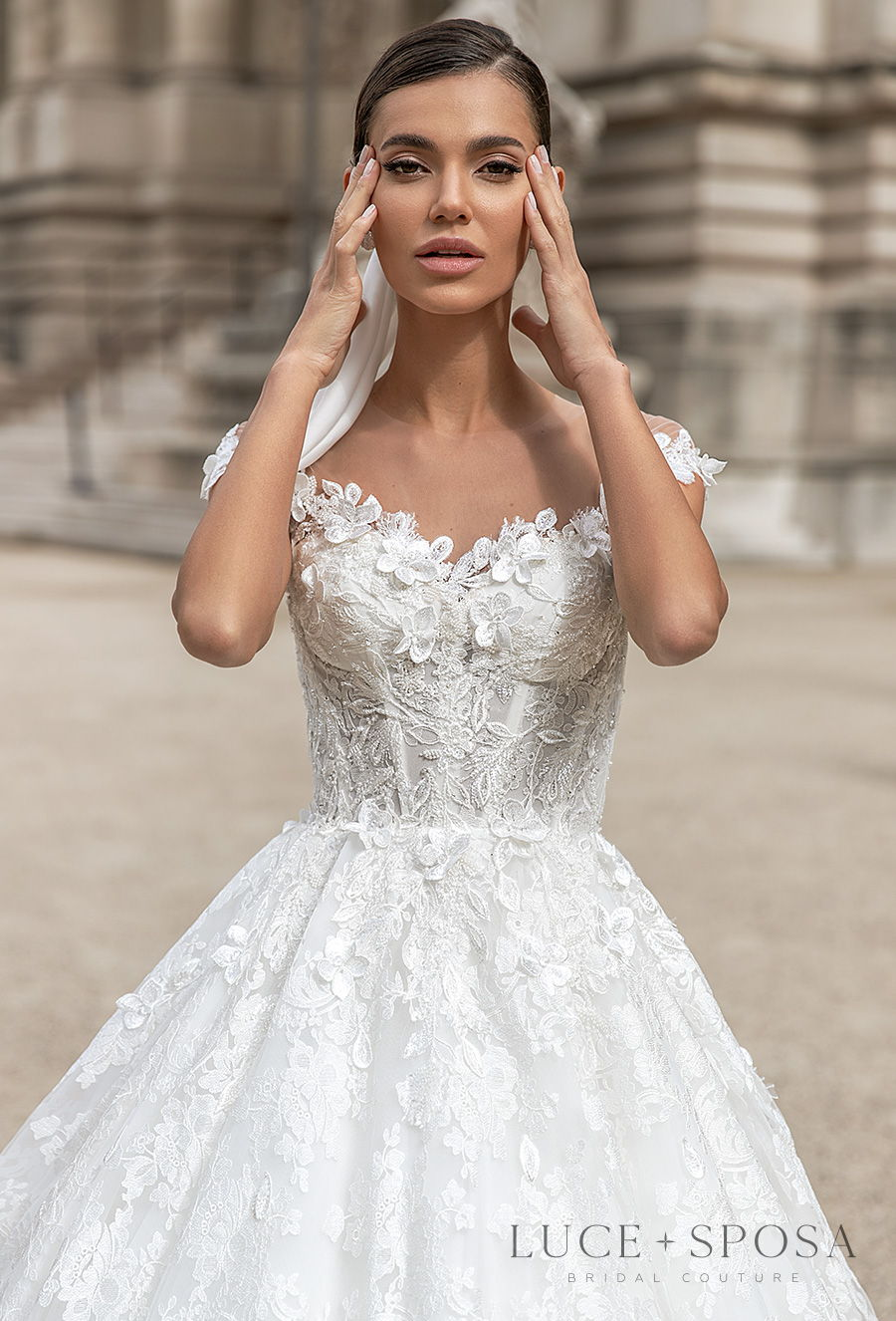 luce sposa s2021 paris bridal cap sleeves sweetheart neckline heavily embellished bodice romantic a  line wedding dress sheer button back chapel train (cindy) zv
