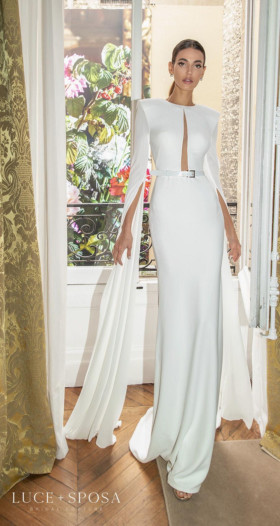 luce sposa s2021 paris bridal long hanging sleeves jewel neck slit bodice minimalist chic modern sheath wedding dress covered back short train (patty) mv