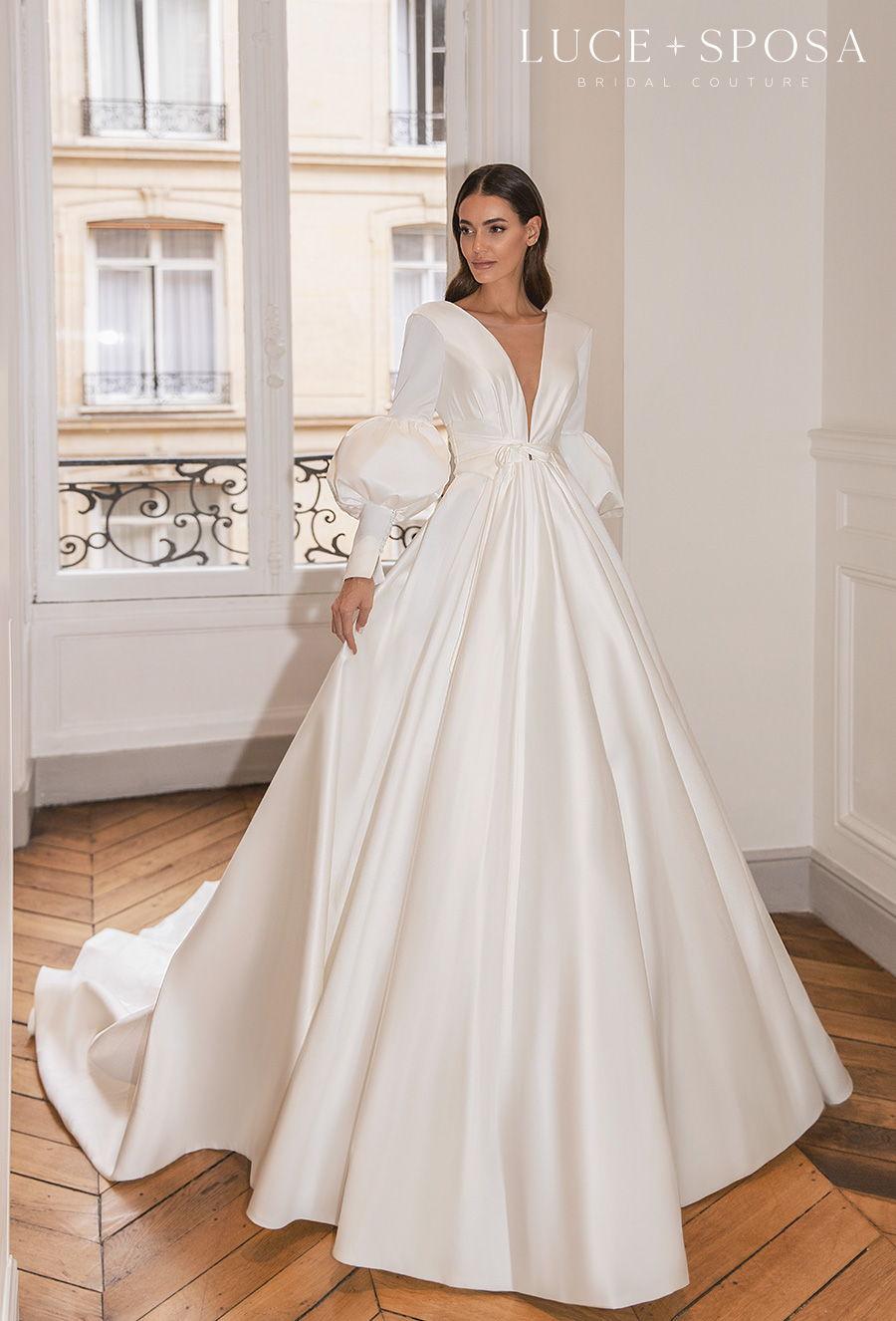 luce sposa s2021 paris bridal long mid puff sleeves deep v neck simple minimalist elegant princess a  line wedding dress v back royal tain (claundine) mv