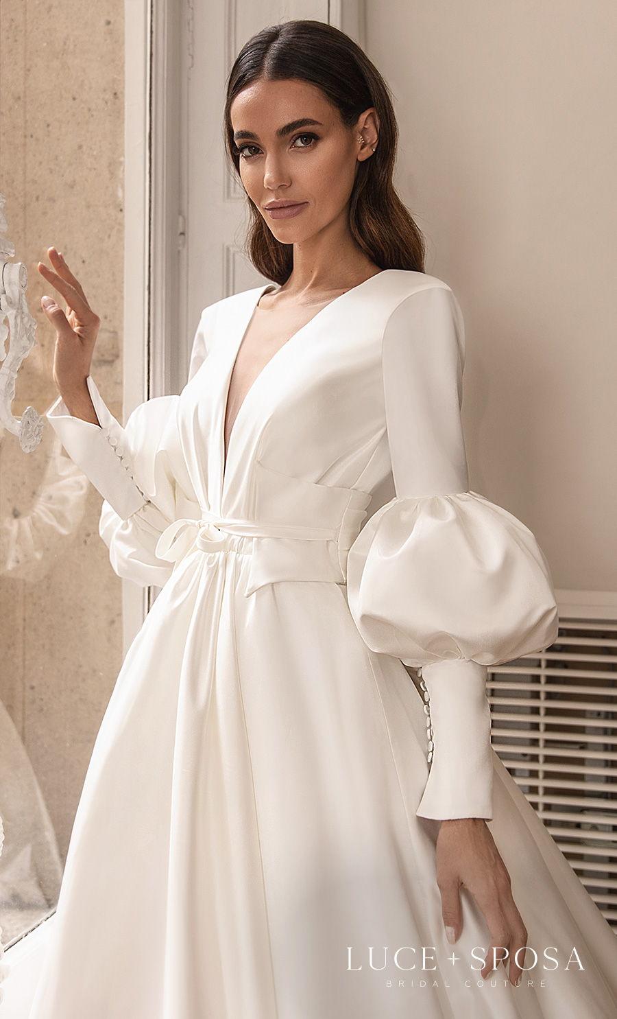 luce sposa s2021 paris bridal long mid puff sleeves deep v neck simple minimalist elegant princess a  line wedding dress v back royal tain (claundine) zv