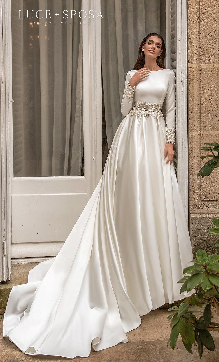 luce sposa s2021 paris bridal long sleeves bateau neck simple elegant modest a  line wedding dress mid v back royal train (laurence) mv