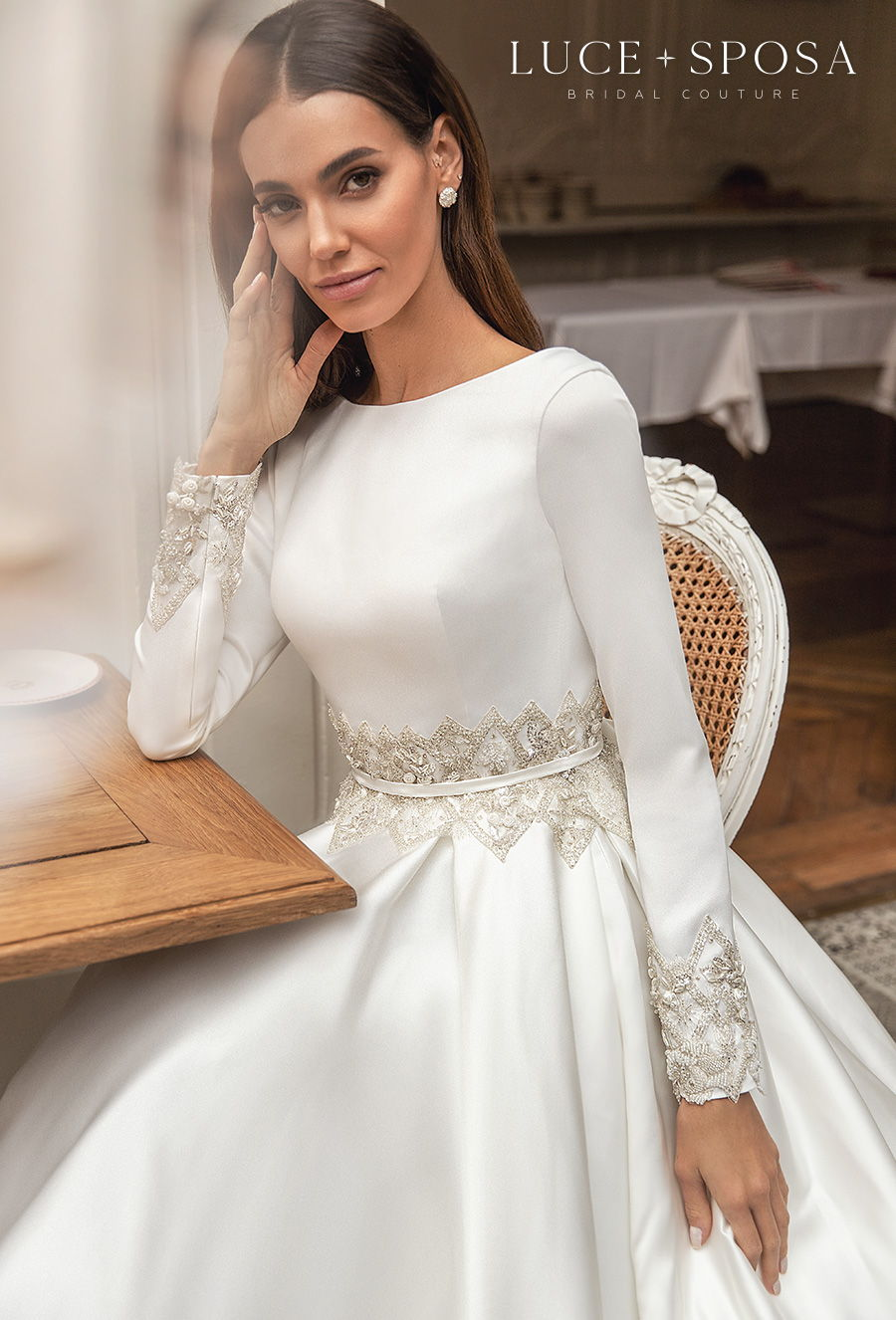 luce sposa s2021 paris bridal long sleeves bateau neck simple elegant modest a line wedding dress mid v back royal train (laurence) zv