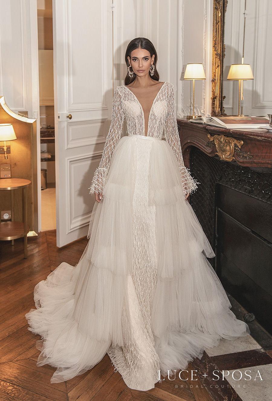 luce sposa s2021 paris bridal long sleeves deep plunging v neck heavily embellished bodice sexy a  line wedding dress v back chapel train (aurelie) mv