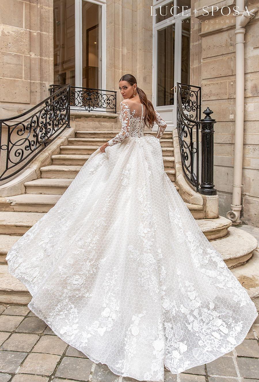 luce sposa s2021 paris bridal long sleeves deep sweetheart neckline heavily embellished bodice princess a  line wedding dress chapel train (juliette) bv