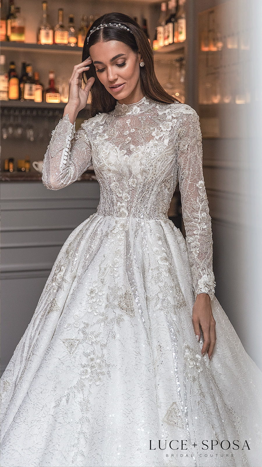 luce sposa s2021 paris bridal long sleeves high neck heavily embellished bodice modest princess a  line wedding dress covered back royal train (belle) zv mv