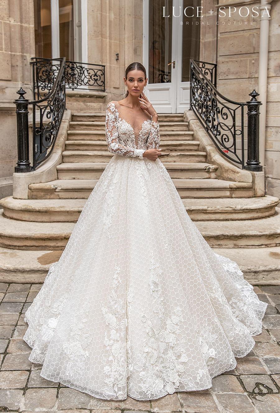 luce sposa s2021 paris bridal long sleeves sweetheart neckline heavily embellished bodice princess a  line wedding dress chapel train (juliette) mv