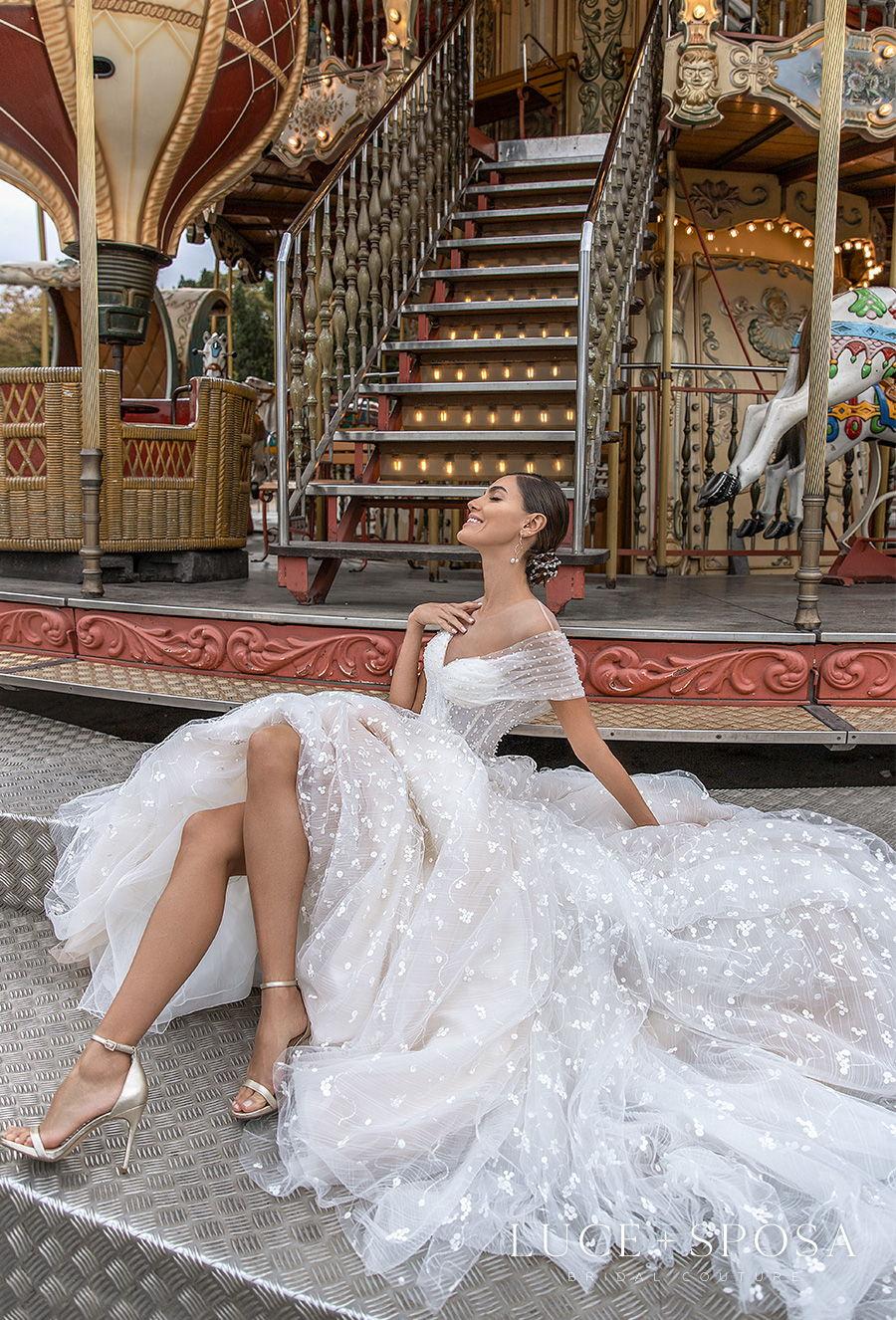 luce sposa s2021 paris bridal off the shoulder sweatheart neckline full embellishment romantic soft a  line wedding dress sheer button back chapel train (chaney) mv