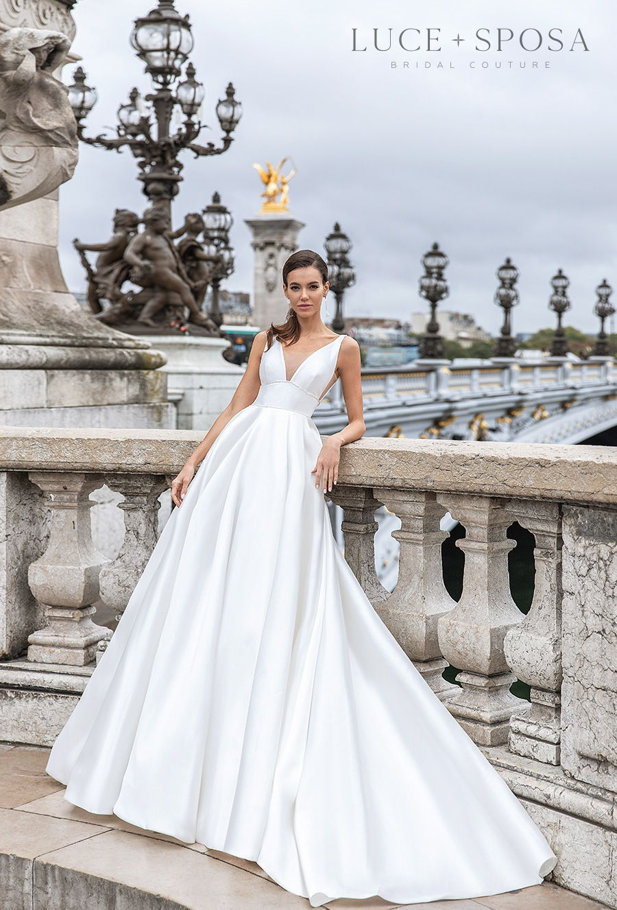 luce sposa s2021 paris bridal sleeveless deep v neck simple minimalist elegant princess a  line wedding dress backless v back chapel train (sadie) mv