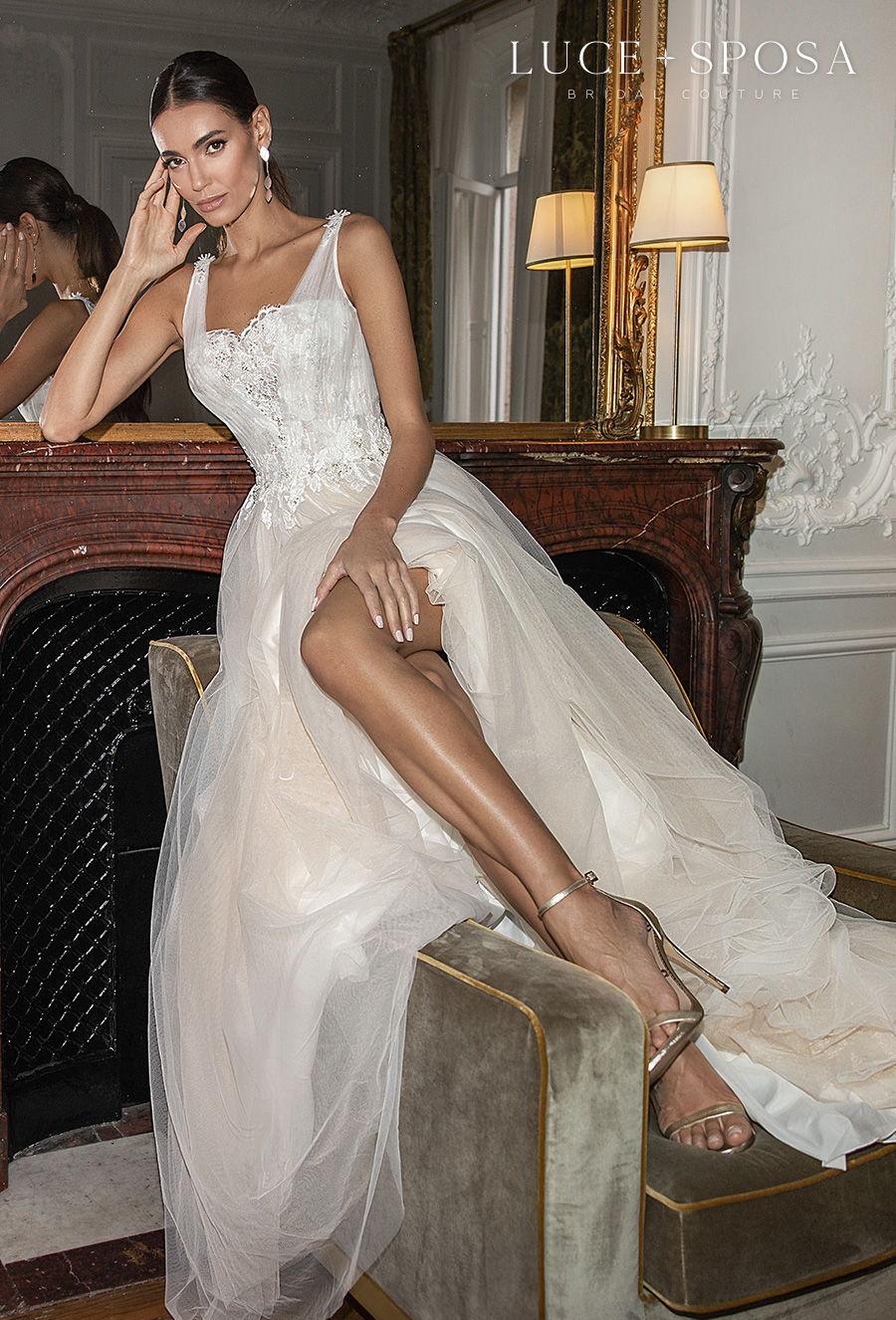 luce sposa s2021 paris bridal sleeveless with strap square neckline heavily embelliished bodice romantic a  line wedding dress v back medium train (bonnie) mv