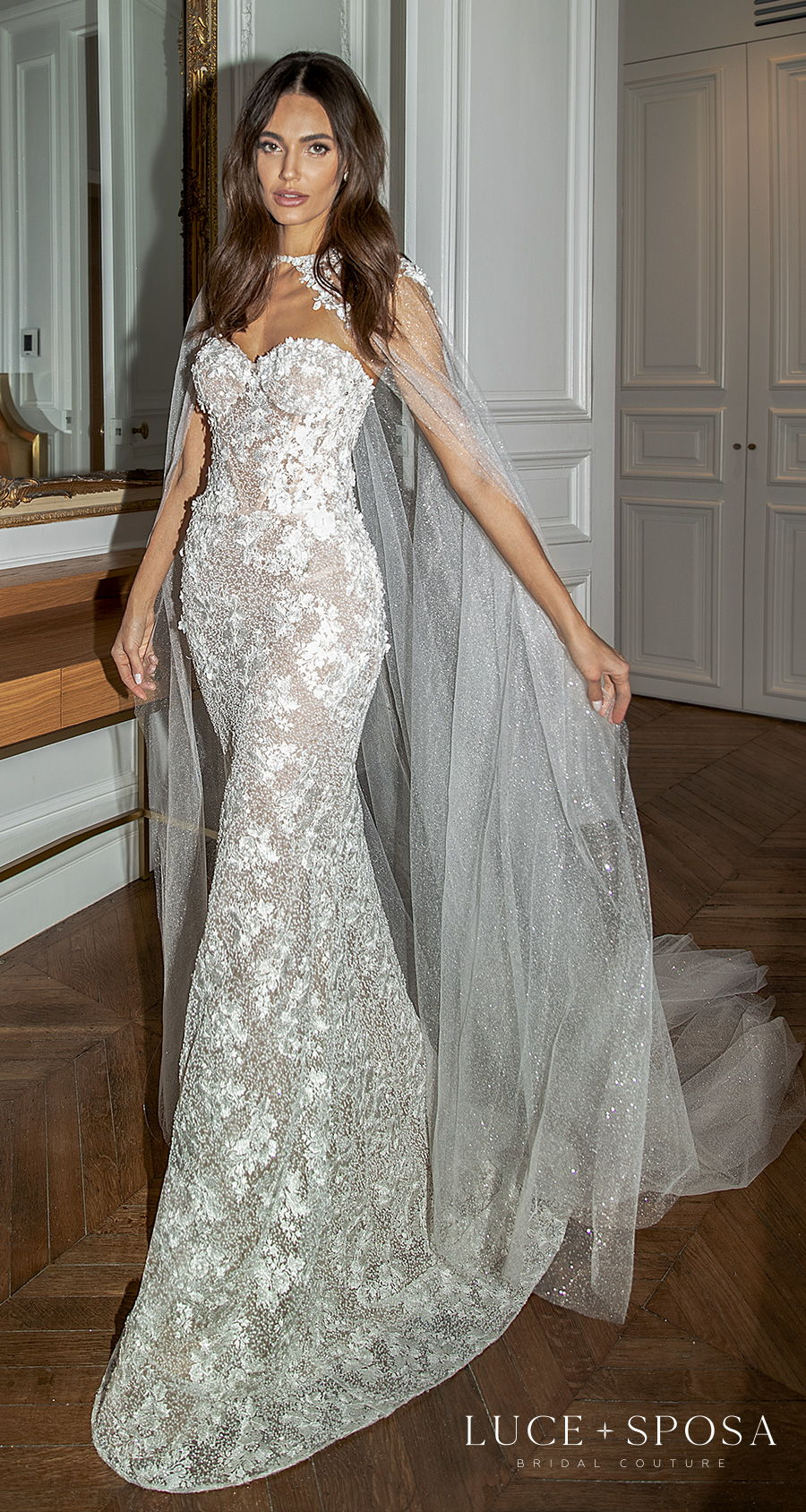 luce sposa s2021 paris bridal strapless sweetheart neckline full embellishment romantic fit and flare mermaid wedding dress mid back short train (emmeline) mv