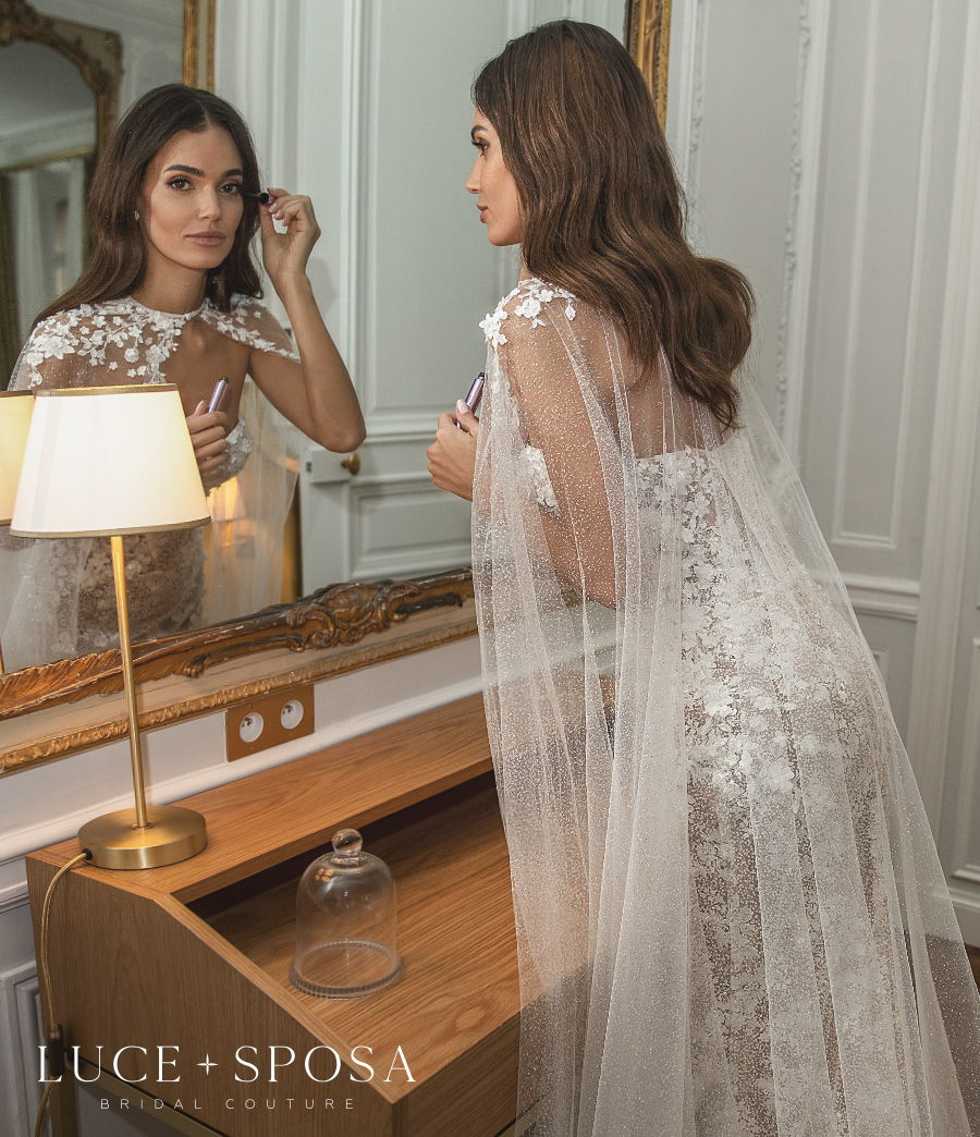 luce sposa s2021 paris bridal strapless sweetheart neckline full embellishment romantic fit and flare mermaid wedding dress mid back short train (emmeline) zbv