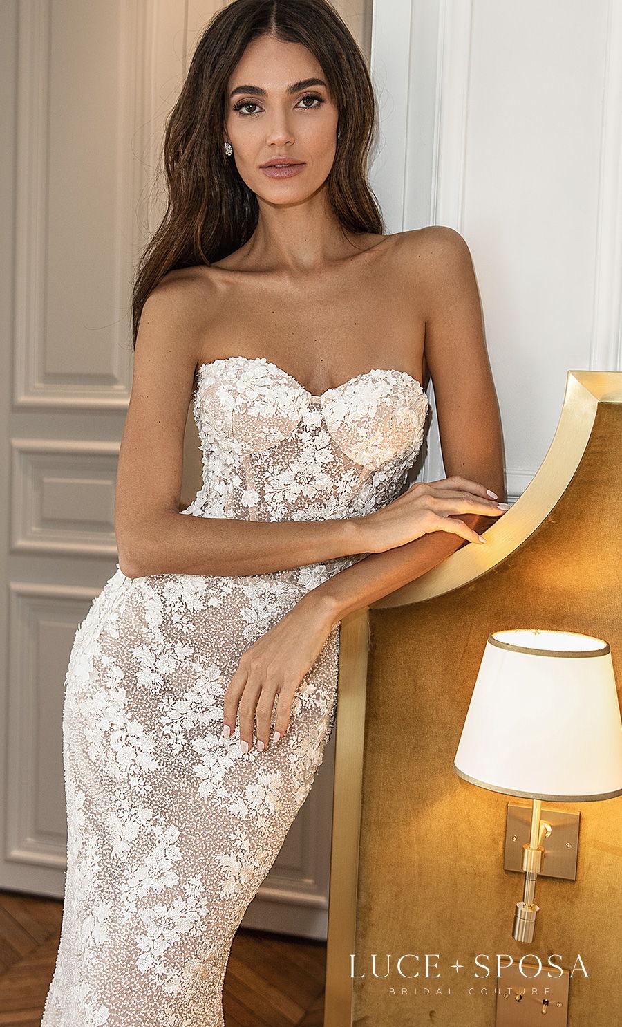 luce sposa s2021 paris bridal strapless sweetheart neckline full embellishment romantic fit and flare mermaid wedding dress mid back short train (emmeline) zv