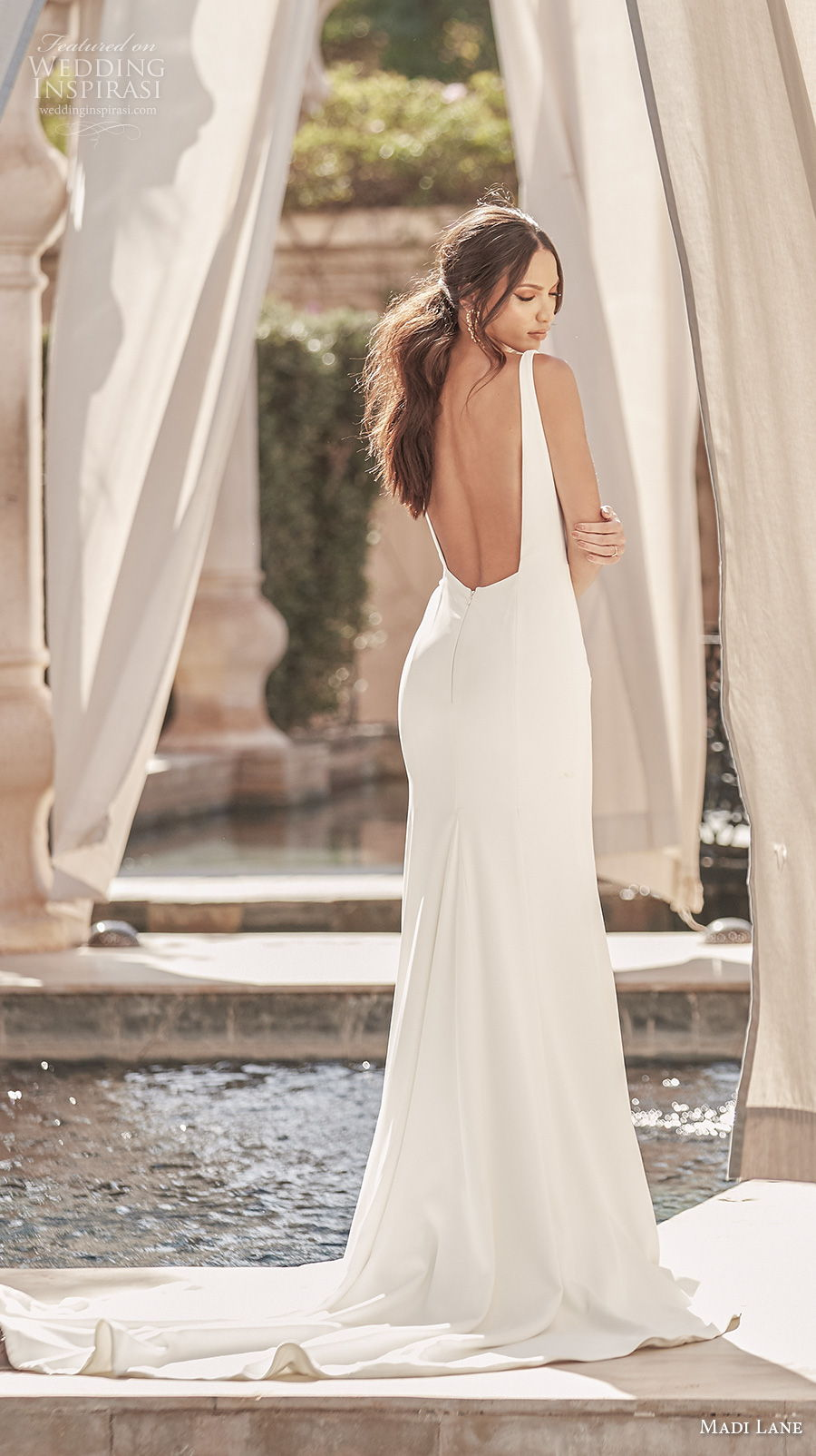 madi lane fall 2020 bridal sleeveless with strap square neck simple minimalist elegant fit and flare wedding dress backless low square back chapel train (16) bv