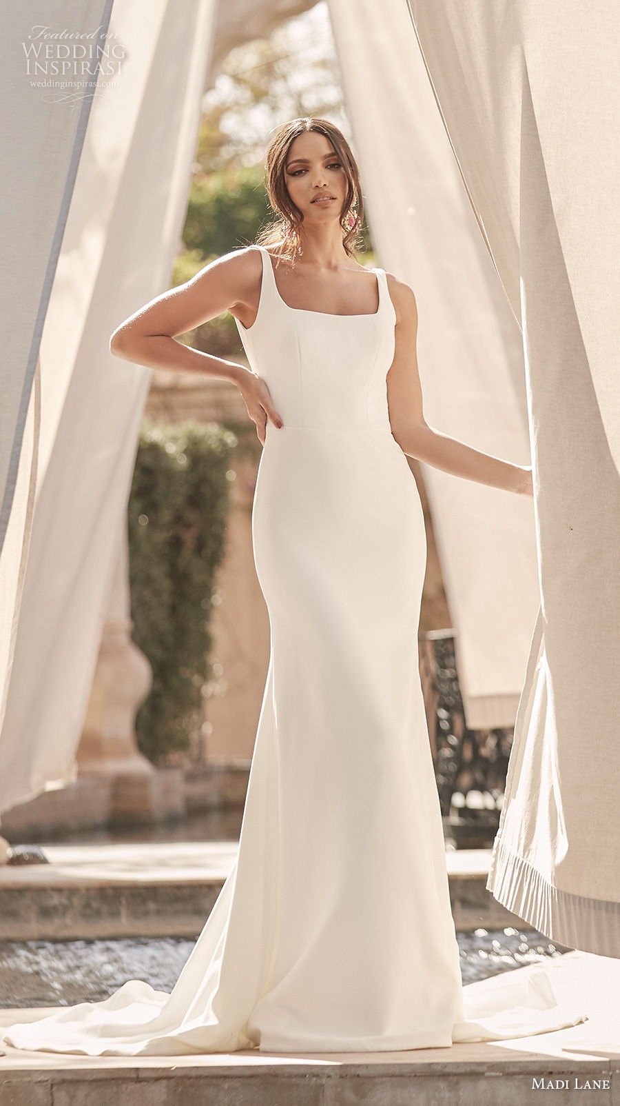 madi lane fall 2020 bridal sleeveless with strap square neck simple minimalist elegant fit and flare wedding dress backless low square back chapel train (16) mv