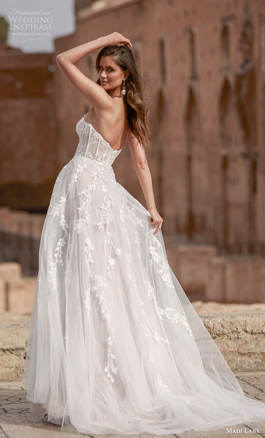 madi lane fall 2020 bridal strapless semi sweetheart neckline heavily embellished bodice romantic soft a  line wedding dress mid back medium train (17) bv