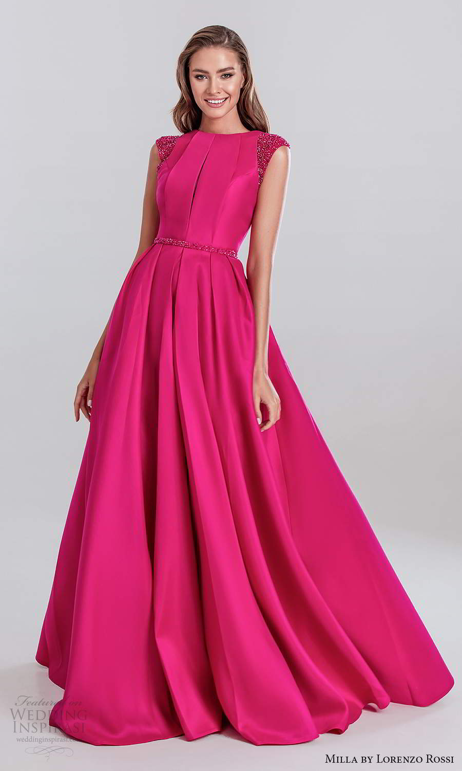milla by lorenzo rossi 2020 rtw embellished cap sleeves bateau neckline hot pink a line ball gown evening dress (26) mv