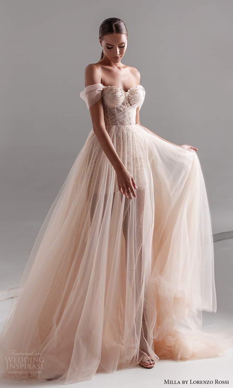 milla by lorenzo rossi 2020 rtw off shoulder drape straps sweetheart neckline embellished corset bodice a line ball gown wedding dress sheer skirt chapel train (11) mv