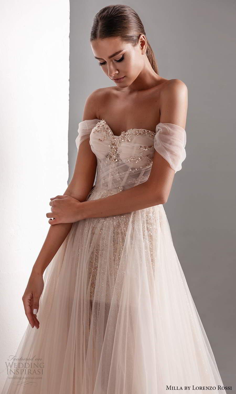 milla by lorenzo rossi 2020 rtw off shoulder drape straps sweetheart neckline embellished corset bodice a line ball gown wedding dress sheer skirt chapel train (11) zv