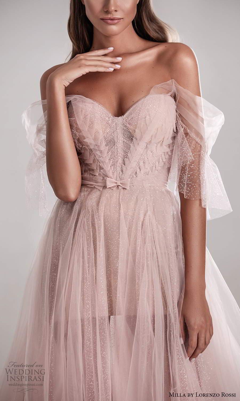 milla by lorenzo rossi 2020 rtw off shoulder illusion straps sweetheart neckline corset bodice a line ball gown wedding dress blush pink chapel train (4) zv